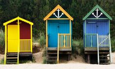 These perfect little beach huts are in Wells, Norfolk. Wind breaks, buckets and spades, sandwiches and ice cream and beach hut on a sunny, windy day. Seaside Beach, Beach Cabana, Backyard Buildings, Small Buildings, Beautiful Buildings, Play Houses, Bird Houses, Beautiful Places In England, Norfolk Beach