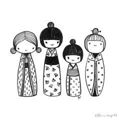 Inktober Day 13 - kokeshi dolls xx