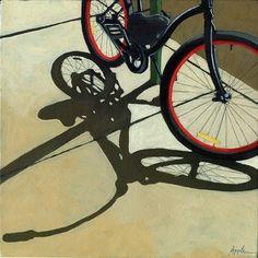 Bicycle Art - Red Wheels, painting by artist Linda Apple