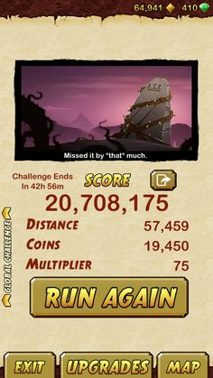 I got 20708175 points while escaping from a Giant Demon Monkey. Beat that!