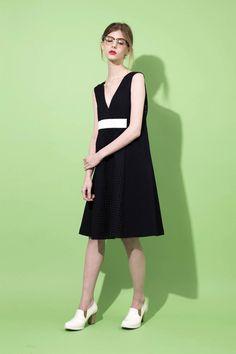 avie online store 1152-020601 ハイウエストトラペーズラインドレス