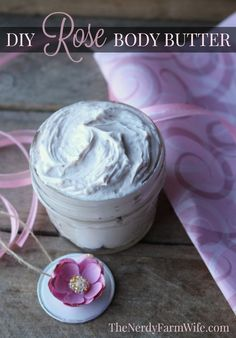DIY Rose Body Butter Recipe - easy to make, with no melting required!