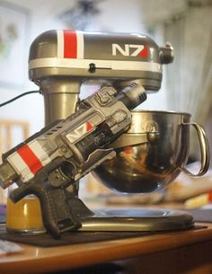 Mass Effect N7 mixer... oh, and the nerf gun. I would spend all day calibrating that mixer.