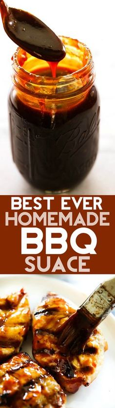BEST EVER Homemade BBQ Sauce. This will be THE BEST BBQ Sauce you ever have! It is deliciously sweet and tangy with a flavor that can't be beat and is super easy to make! Made it is the best go to. Pesto, Grilling Recipes, Cooking Recipes, Smoker Recipes, Rib Recipes, Weber Bbq Recipes, Cooking Tips, Salad Recipes, Recipies