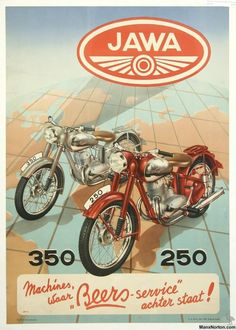 Vintage Motoring Art Poster- Jawa 350 & 250 0001 - My old classic car collection Bike Poster, Motorcycle Posters, Motorcycle Art, Bike Art, Enfield Motorcycle, Women Motorcycle, Enduro Vintage, Vintage Bikes, Vintage Ads