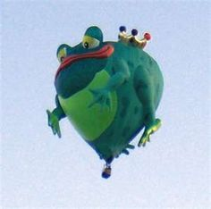 """Frog hot-air balloon - """"Hot Air Balloons Spark Flights of Fancy"""" — by Ginny Prior - story on the Albuquerque Balloon Fiesta — the most photographed event on the planet. Air Ballon, Hot Air Balloon, Albuquerque Balloon Fiesta, Balloon Pictures, Big Balloons, Balloon Rides, Learn To Fly, Air Ride, Artsy"""
