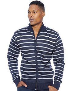 True Rock Mens Full Zip Sweater Jacket (Navy, Small)
