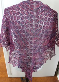 Hand knitted shawl lace knit shoulder wrap triangle by FARMSPUN