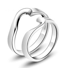 half heart shaped silver ring for couples