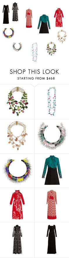 """long dresses with neklaces"" by ramakumari ❤ liked on Polyvore featuring Rosantica, Isabel Marant, Miu Miu, Fendi, Gucci, Giambattista Valli, Versace and vintage"
