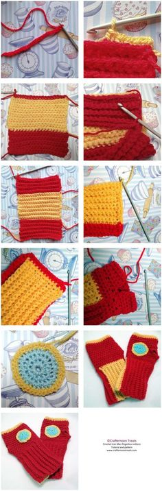 Iron Man fingerless mittens free crochet tutorial summary and pattern http://crafternoontreats.com/free-craft-tutorials/crochet-iron-man-fingerless-mittens-pdf-pattern/