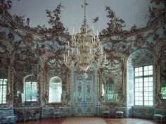 Hall of Mirrors, byFrançois de Cuvilliés, the Amalienburg, Nymphenburg Palace park, Munich, Germany, early 18th century. - Rococo