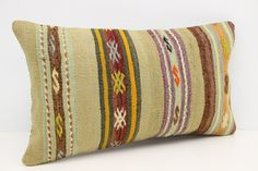 Decorative Lumbar Kilim pillow cover 14x24 inches by stripepattern