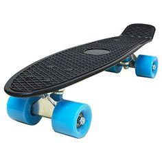 Love Fly Plastic Cruiser Skateboard 22 Inch Complete Standard Skateboard Banana Board Fish Board Skateboarding Skateboards Black-Blue