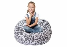 Stuffed Animal Storage Bean Bag - Cover Only - Large Beanbag Chairs for Kids - Plush Toys Holder and Organizer for Girls - Cotton Canvas - Gray Roses Large Bean Bag Chairs, Large Bean Bags, Large Bags, Bean Bag Cover Only, Bean Bag Covers, Stuffed Animal Bean Bag, Stuffed Animal Storage, Cool Bean Bags, Kids Bean Bags