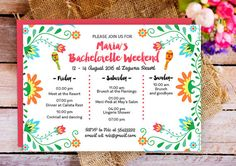 Items similar to Fiesta Bachelorette Party Itinerary Invitation, Mexican Bachelorette Schedule Timeline, Bachelorette Party, Bachelorette Weekend invitation on Etsy Raunchy Bachelorette Party Games, Bachelorette Themes, Bachelorette Invitations, Bachelorette Weekend, Party Invitations, Invitation Cards, 25th Birthday, Tequila