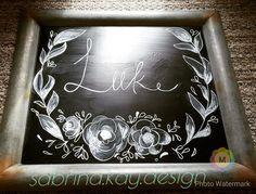 Chalkboard Art- last name and flower wreath #chalkboard #chalkart #sabrina.kay.design @sabrina.luke -instagram @sabrinakluke -Pinterest