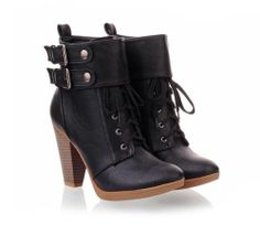 Goth Punk Shoes - Buckles and Chunky Heel Short Boots - Cool Black Women Boots