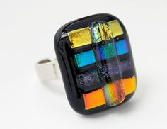 Dichroic glass ring, beautiful colours