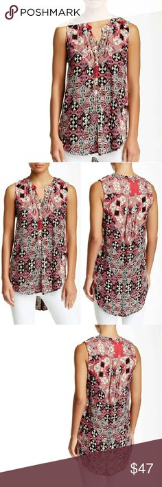 """Nostalgia Abstract Print Tank NWT! Nostalgia Abstract Print Tank is new with tag!   - Split neck - Sleeveless - Front partial button closure with studded trim - Approx. 28"""" shortest length, 31"""" longest length - 100% rayon  🚫No Trades 🙄😘 🔘Use OFFER button to negotiate👍🤑 🔘Please Ask ❓'s BEFORE you Buy🤔😃 💕Thank you for stopping by! Happy Poshing!💕 Real Haute Trends Tops Button Down Shirts"""