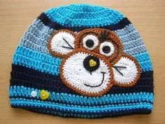 Such a cute crochet monkey hat Crochet Monkey Hat, Crochet Hats For Boys, Crochet Cap, Baby Hats Knitting, Crochet Baby Clothes, Crochet Baby Hats, Crochet Beanie, Knitted Hats, Baby Hat Patterns
