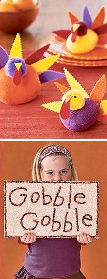 Kids craft idea making turkeys