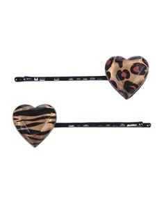 Leopard Print Heart Bobby Pins