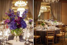 Purple wedding centerpiece by Heavenly Hydrangeas/Meredith Montague Photography
