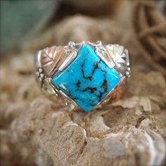 Sterling Turquoise & Black Hills Gold Ring by HavenBoutique, $125.00