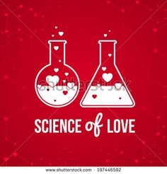 """""""Science of love"""" invitation card on background. Vector illustration for Valentines day or wedding. Vector illustration of chemistry flask filled with hearts. - stock vector"""