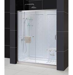 "DreamLine DL-6118L-04CL Infinity-Z Sliding Shower Door, 34"" by 60"" Single Threshold Shower Base"