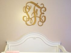 Monogrammed Gift | Large Wooden Monogram | Gold Script | Wedding Guest Book | Wall Hanging | Nursery Decor | Glitter Available | Custom |