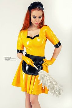 in2latex: Some more Latex Maid… this time a fun, bright, yellow outfit really livens things up! :)The beautiful Moony Mara… modeling for FaszinationLatex.