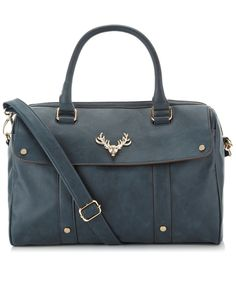Stag Head Soft Barrel Bag | Navy | Accessorize