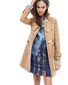 J.Crew women's toggle coat, always chambray shirt and zip mini skirt in windowpane jacquard. That skirt looks amazing!