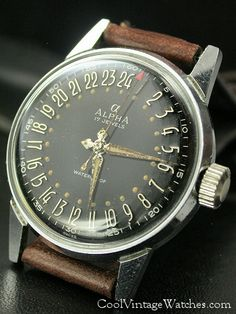 Vintage Alpha 24-hour Watch, beautiful applied markers