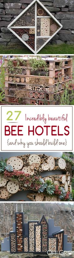 27 Incredibly Beautiful Bee Hotels (And Why You Should Build One) 27 bee hotels - and why you should Permaculture, Dream Garden, Garden Art, Bee Hotels, Mason Bees, Garden Insects, Hobby Farms, Save The Bees, Bees Knees