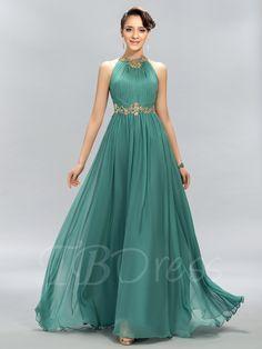 Ruched Jewel Beading A-Line Evening Dress - m.tbdress.com