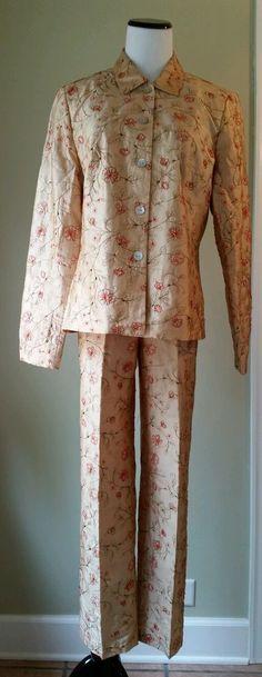 Rafael Womens 2pc Gold Pants Suit Beaded Decoration Jacket Sz 10 Pants Sz 8 EUC #Rafael #PantSuit $16.99 + $7.00