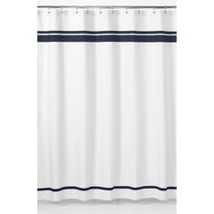 White and Navy Hotel Shower Curtain   Overstock.com Shopping - Great Deals on Sweet Jojo Designs Shower Curtains