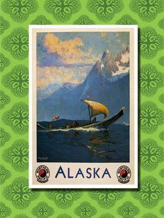 Vintage Alaska Travel Poster Wall Decor (7 print sizes available)