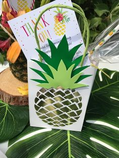 Pineapple gift bag from a Party Like a Pineapple Birthday Party on Kara's Party Ideas   KarasPartyIdeas.com (28)