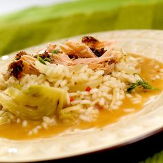 366-r2 Risotto, Salmon, Rice, Ethnic Recipes, Asia, Food, Meal, Eten, Meals