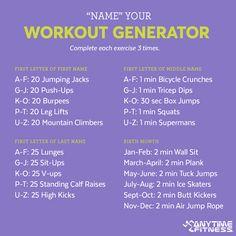 Name Workout Generator: fun and burns calories!