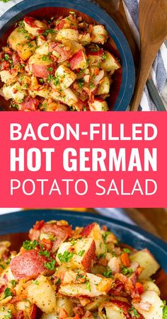 Old-Fashioned Hot German Potato Salad -- this German potato salad recipe makes an ideal summer side dish. Guests will flip for the tangy coarse Dijon apple cider vinegar dressing, along with the crispy fried bacon bits. Serve it hot, warm, or cold at your Hot Potato Salads, Easy Potato Salad, Vinegar Potato Salad, Recipe For Hot Potato Salad, Potato Salad With Bacon, Making Potato Salad, Authentic German Potato Salad, German Potato Salad Hot, German Potato Recipes
