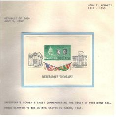 Issued by Republic of Togo on July 4, 1962.