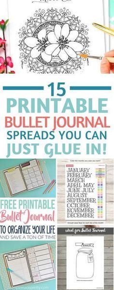 Bullet Journal Printables - totally in love with these printable spreads - for when you don't have time to be creative! Especially love the FlyLady zone checklist! #bujo #bulletjournal #planner #printables