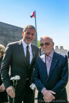 Charles Aznavour and George Clooney commemorating the anniversary of the Armenian Genocide today at the Genocide Memorial Complex (Tsitsernakaberd) in Yerevan, Armenia. This picture makes me very happy. Armenian History, Armenian Culture, Jean Reno, George Clooney, Pretty People, Beautiful People, Famous Armenians, Two Men, American Actors