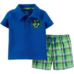 9657d28911a Child of Mine by Carter s - Newborn Boy Polo and Short Outfit Set - Walmart .com