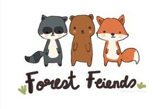 Forest Friends Woodland Creatures Racoon Bear by MyDoodleDiaries